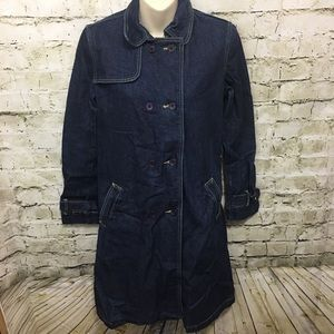 BCBG Dark Wash Denim Trench Barn Coat Jacket